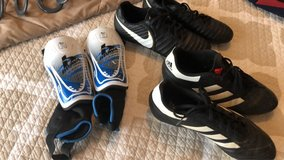 size 8.5 Nike and Adidas soccer cleats and Medium Shin guards in DeRidder, Louisiana