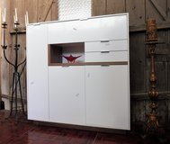 Mobel Martin Highboard or TV Stand White with Oak Highlights. in Ramstein, Germany