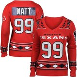 NWT Houston Texans JJ Watt Medium Women Ugly V-Neck Sweater Christmas Glitter 99 in Kingwood, Texas