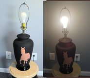 Vintage Textured Ceramic 3-Way Table Lamp Stenciled Horse Silhouette in Macon, Georgia