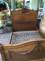 antique french bed solid wood carvings in Ramstein, Germany