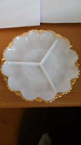 Divided Relish Plate,  White with gold trimmed scalloped edges. in Warner Robins, Georgia