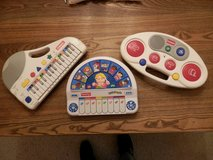 3 Playschool and Fischer Price Keyboards and Drum Machine in New Lenox, Illinois