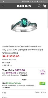 White Gold Emerald and Diamond Ring in Shorewood, Illinois
