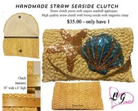 Handmade Straw Clutch with Sequin Seashell's in Spring, Texas