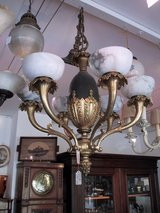 Ceiling light, Lamp, ca. 1900, marble bowls, very rare in this quality and design in Ramstein, Germany