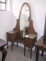 Dressing table with bevelled mirror ca. 1910, oak, 6 drawers, in Ramstein, Germany