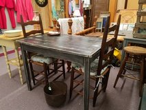 Vintage farm table with 2 ladder back chairs in Camp Lejeune, North Carolina