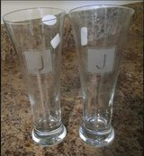 "Pilsner Glasses personalized with ""J"" brand new in Camp Lejeune, North Carolina"