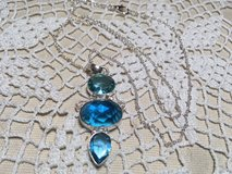 Blue Topaz Pendant on Sterling Silver Chain Three Large Stones Faceted Different Sizes and Shape... in Kingwood, Texas