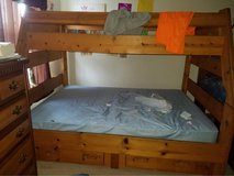 Solid Wood Bunk Bed Full bottom/Twin top w/mattress in Naperville, Illinois