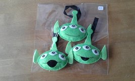 Toy story alien Christmas baubles in Lakenheath, UK