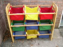 FABRIC STORAGE BINS AND WOODEN RACK FOR CHILDREN--STILL AVAILABLE in Warner Robins, Georgia
