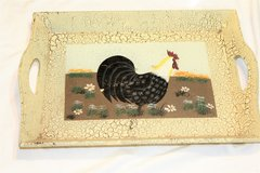 Country Farm Rooster Chicken Crackled Tray Serve Serving Wall Kitchen Home Decor in Kingwood, Texas