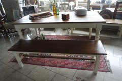 solid wood dining room set with 2 benches in Ramstein, Germany
