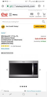 whirlpool microwave hood combo in Baytown, Texas