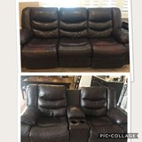 Power reclining Leather Couch and Manual  recliner Love in Shorewood, Illinois