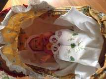 Wood Vintage stroller and vintage doll + gorgeous embroidered blanket cloth REDUCED in Ramstein, Germany