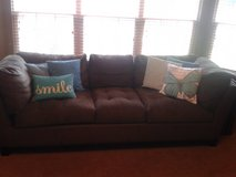 Chocolate Brown Couch/Love Seat & Footstool in Naperville, Illinois