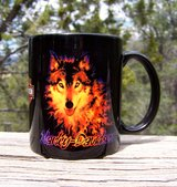 Official HARLEY MUG, Hard to Find FLAMING WOLF, Vintage in Alamogordo, New Mexico