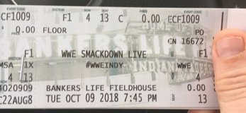 4th row seats WWE smackdown in Indianapolis, Indiana