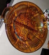 Vintage carnival glass amber serving dish with handle- round with divided bowl- footed dish in Vacaville, California