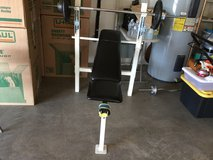 Workout bench with weights in Clarksville, Tennessee