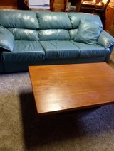 REDUCED Leather queen sofa bed  couch and matching love seat in New Lenox, Illinois