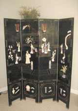 Beautiful Vintage 4-Panel Wood Oriental Screen with Carved Stone Features in Joliet, Illinois