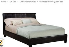 Brand New Queen Leather Bed Set ( Headboard, Footboard and Rails) in Lockport, Illinois