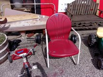 Vintage Red Metal Chair in Fort Riley, Kansas