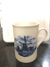 Cup with windmill design, made in Holland in Bolingbrook, Illinois
