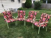 4 wrought iron patio chairs/new cushions in Orland Park, Illinois