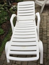 Adjustable White Plastic Chaise Lounge Patio Pool Recliner in Chicago, Illinois