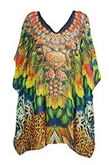 Womens Caftan Digital Colorful Printed Kimono Kaftan Dress One Size in Guam, GU