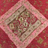 India Vintage Red Sari Tapestry With Miror Patchwork Wall Hanging Throw in Guam, GU
