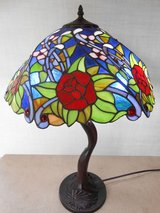 Tiffany Style Stain Glass Rose Tree Table Lamp in Fairfield, California