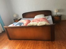 solid wood king size bed with 2 night stands in Spangdahlem, Germany