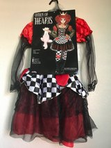 Alice In Wonderland Queen of Hearts child costume, Medium 8-10, tights, crown in Nellis AFB, Nevada