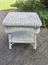 White Wicker Side Table in St. Charles, Illinois