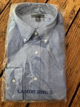 LANDS END Tailored Fit Mens Dress Shirt Button Down Long Sleeve NWT BLUE 16 33 in Fort Knox, Kentucky