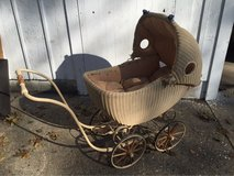 vintage wicker baby buggy in Aurora, Illinois