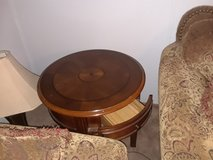 Round solid wood endtable in Conroe, Texas