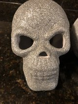 2 Silver Glitter Skulls - Candle Goes Inside - Halloween Decorations in Chicago, Illinois