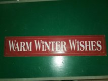Warm Winter Wishes wooden sign in Morris, Illinois