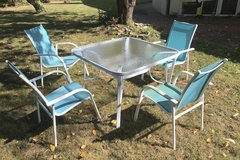 White with blue chairs patio set in Ramstein, Germany