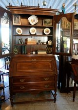 Elegant solid oak secretary desk with display cabinet in Spangdahlem, Germany