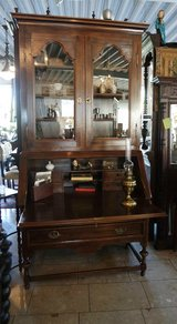 solid oak secretary desk with display cabinet in Ansbach, Germany