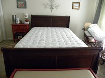 Queen Size Sealy Posterpedic Mattress with Adjustable Frame and Sleigh Bed in Warner Robins, Georgia