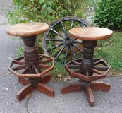2 bar stools made of antique wheel hubs in Spangdahlem, Germany
